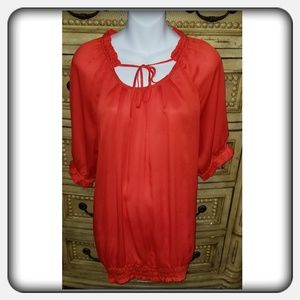 Orange blouse, large, Outback Red